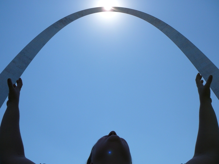 Cindi Holding the St. Louis Arch